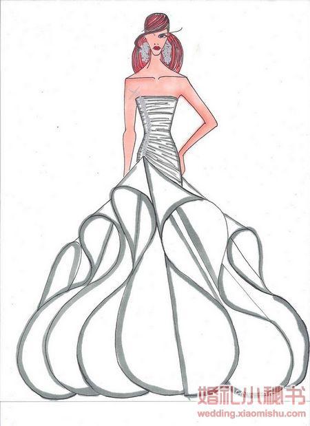 原始手绘婚纱图