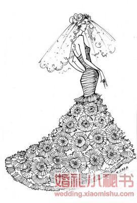 黑白手绘礼服设计图